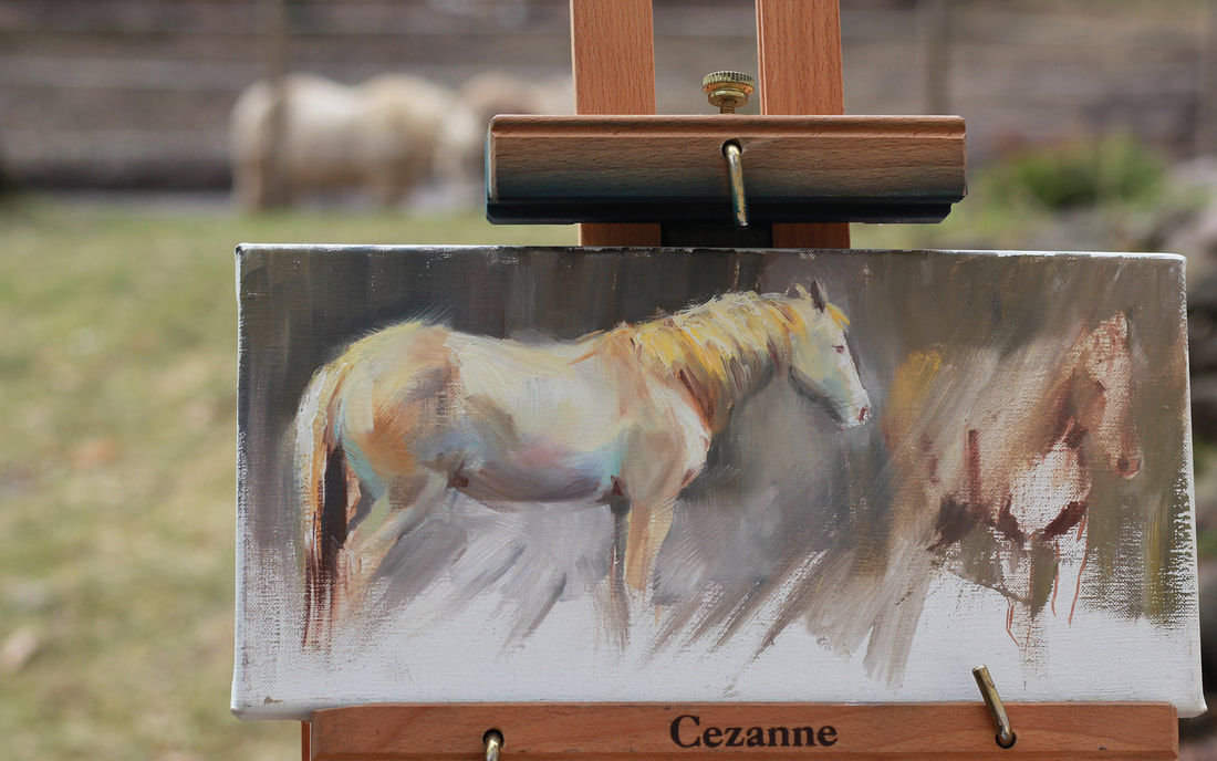 oil painting from life, horse painting from life, horse sketch, rachel murphy, plein air horse paintings,cture